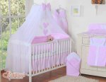 Bobono - Baby White Cot With Hanging Hearts - Pink Polka