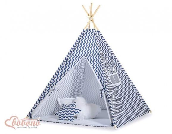 larger image  sc 1 st  Wicker Cribs & Bobono Children Kids Play Teepee Tent - Navy Chevron ...