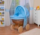 Waldin - Cosy Natural Bassinet Wicker Crib - Blue