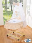 My Sweet Baby - A Little Owls Drape Crib Moses Basket -Cappucino