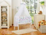 Bobono - Rainbow Owls Bedside Crib with Bedding -White