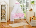 Bobono - Rainbow Owls Bedside Crib with Bedding -Pink