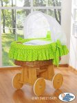 My Sweet Baby - A Little Owls Wicker Crib Moses Basket - Green