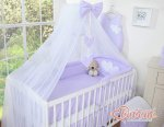 Bobono - Baby White Cot With Hanging Hearts - Violet/White