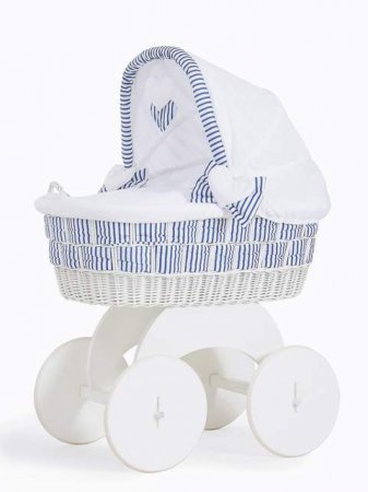 My Sweet Baby - Marine White Wicker Crib Moses Basket - Blue - Click Image to Close