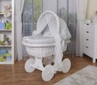 Waldin - Cosy White Bassinet Wicker Crib - Grey