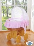 My Sweet Baby - A Little Owls Wicker Crib Moses Basket - Pink