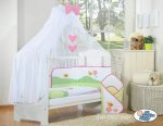 My Sweet Baby - Baby White Cot with Bees - Pink