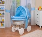 Waldin - Cosy White Bassinet Wicker Crib - Blue