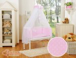 Bobono - Polka Small Dots Bedside Crib with Bedding -Pink