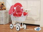 My Sweet Baby - Doll White Wicker Wood Pram - Big Red Checkere