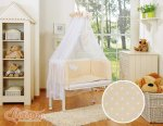 Bobono - Polka Small Dots Bedside Crib with Bedding -Beige