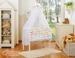 Bobono - Rainbow Dots Bedside Crib with Bedding -Multi