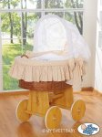 My Sweet Baby - A Little Owls Wicker Crib Moses Basket - Cappuci