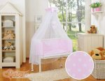 Bobono - Polka Large Dots Bedside Crib with Bedding -Pink