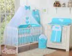 Bobono - Baby White Cot With Hanging Hearts - Turquoise Polka
