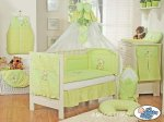 My Sweet Baby - Baby White Cot with Bear and Bow - Green