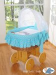 My Sweet Baby - A Little Owls Wicker Crib Moses Basket - Blue