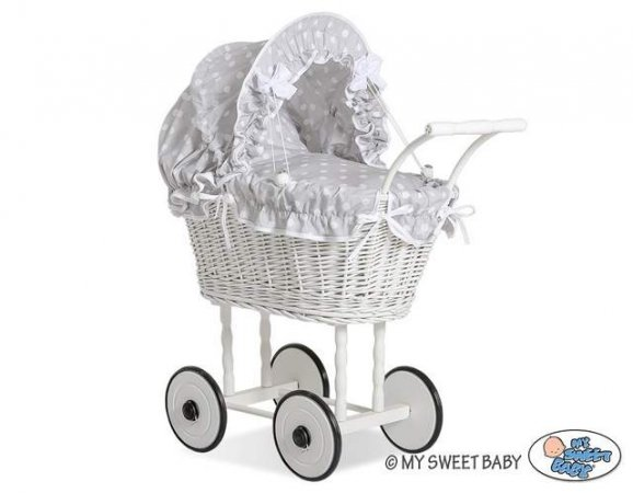My Sweet Baby - Doll White Wicker Pram - Grey Polka - Click Image to Close