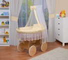 Waldin - Veil XXL Canopy Natural Wicker Crib - Cream