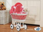 My Sweet Baby - Doll White Wicker Pram - Red Big Checkered