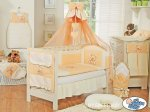 My Sweet Baby - Baby White Cot with Bear and Bow - Orange
