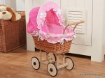 My Sweet Baby - Doll White Wicker Pram - Dark Pink