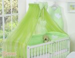 Bobono - Baby White Cot With Hanging Hearts - Green