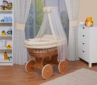 Waldin - XXL Canopy Beech Wicker Crib - Cream