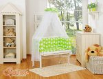 Bobono - Owls Bedside Crib with Bedding -Green